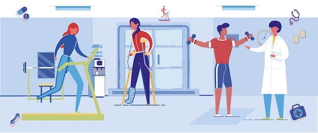 Fysiotherapie revalidatie gymzaal met mensen.