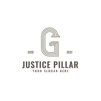 G brief logo justitie en advocatenkantoor pijler vet professionele lijntekeningen