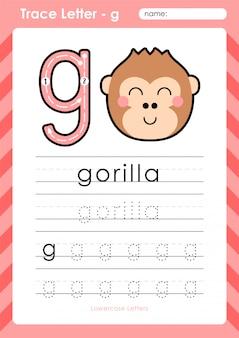 G gorilla: alfabet az tracing letters werkblad - oefeningen voor kinderen