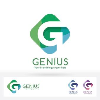 G letter logo., g letter in harmony color rechthoek badge