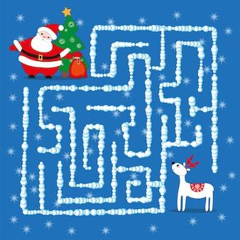 Ga door het doolhof. een educatief kerstlogica-spel voor kinderen. puzzel, educatieve vectorillustratie, tekenfilm.