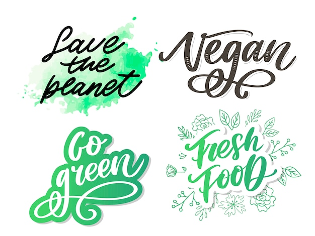 Ga groen creatief eco-concept. natuurvriendelijke borstelpen belettering samenstelling op noodlijdende achtergrond