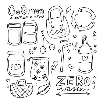 Ga groen eco pictogram tekening doodle collectie