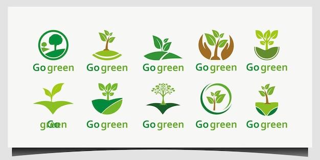 Ga groen logo ontwerp vector instellen