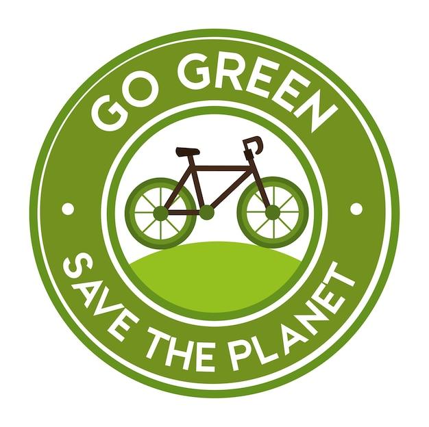 Ga groen red de sticker van het planeetfietspictogram