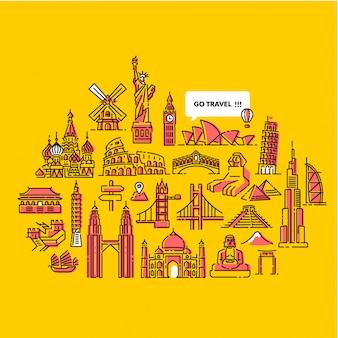 Ga rond de wereld reizen illustratie