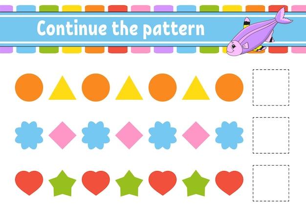 Ga verder met het patroon. onderwijs ontwikkelen werkblad. spel voor kinderen. activiteit pagina. puzzel voor kinderen. platte schattige cartoon-stijl.