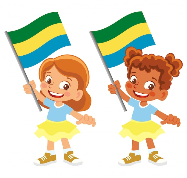 Gabon vlag in de hand ingesteld