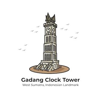 Gadang clock tower indonesisch oriëntatiepunt leuke lijn illustratie