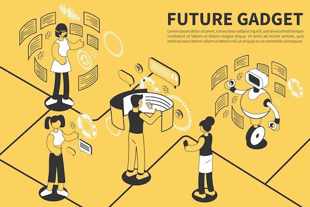 Gadget toekomstige isometrische illustratie met bewerkbare tekst en compositie van mensen omringd door flexibele vliegende schermen