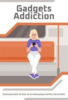 Gadget verslaving poster sjabloon. commercieel flyerontwerp met semi-platte afbeelding. vector cartoon promo kaart. vrouw met telefoon. elektronisch apparaat. reclame-uitnodiging voor smartphonegebruik