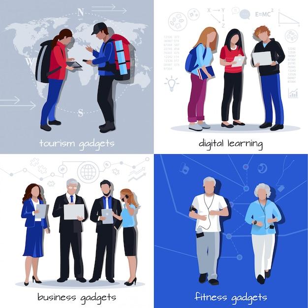 Gadgets gebruik vlakke pictogrammen vierkant