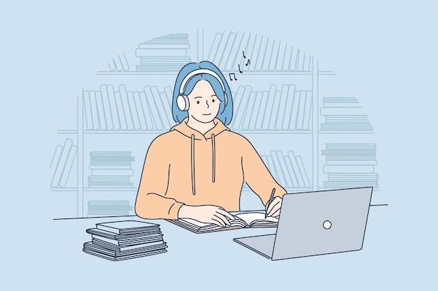 Gadgets gebruiken, naar muziek luisteren tijdens e-learning concept.