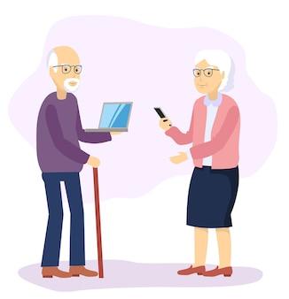 Gadgets helpen grootouders. vlakke afbeelding.