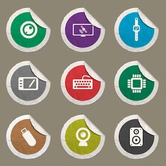 Gadgets-pictogrammen ingesteld voor websites en gebruikersinterface