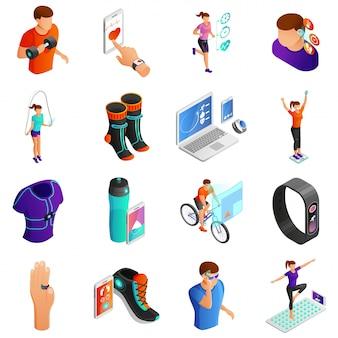 Gadgets voor actieve mensen isometrische vector set