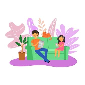 Gadgets voor familiespel, leuke mensen, gelukkig in de buurt, jonge vader die samen kind speelt, illustratie. mobiele vrije tijd, modern technologieconcept, volwassen schattige vader die thuis ontspant