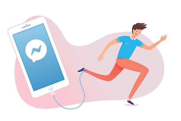 Gadgetverslaving, man vastgeketend aan smartphone