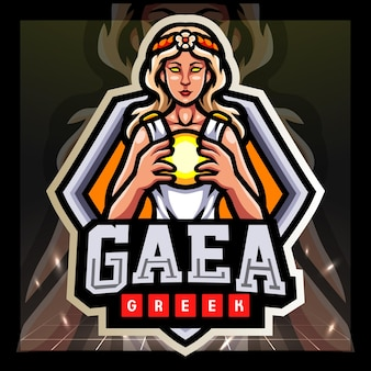 Gaea griekse mascotte esport logo ontwerp