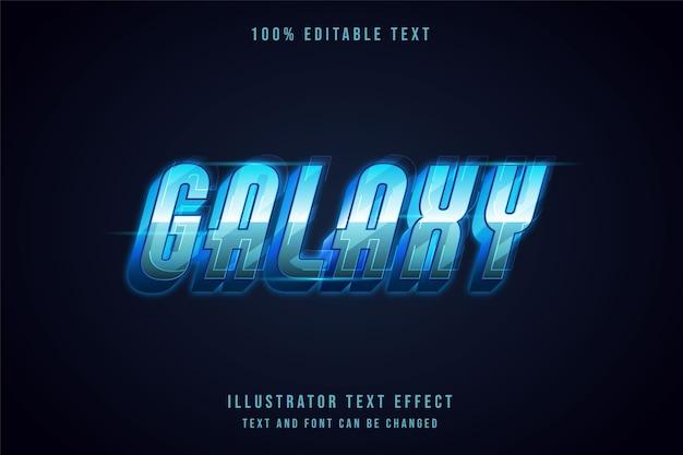 Galaxy, 3d bewerkbaar teksteffect moderne blauwe gradatie futuristische tekststijl