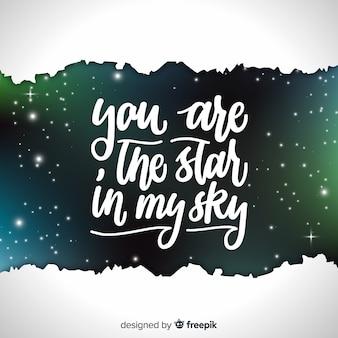 Galaxy achtergrond en citaat ontwerp