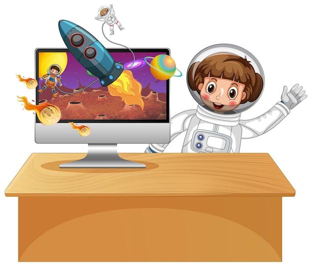 Galaxy achtergrond op computerscherm