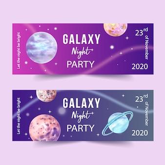 Galaxy banner ontwerp met planeten aquarel illustratie.
