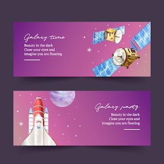 Galaxy banner ontwerp met satelliet, raket aquarel illustratie.