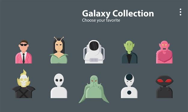 Galaxy buitenaardse mannen lovecraft cthulhu astronaut planeet universum illustratie achtergrond karakter
