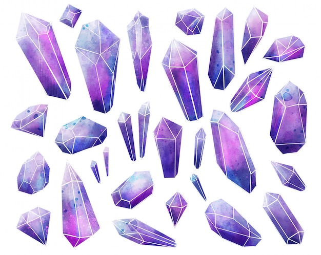 Galaxy edelstenen collectie, natte aquarel kristallen, met de hand getekend
