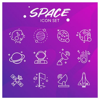 Galaxy en space icons set