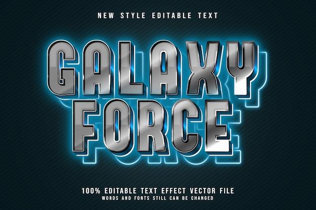 Galaxy force bewerkbaar teksteffect 3 dimensie reliëf moderne neonstijl