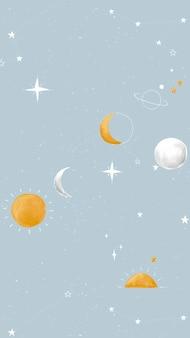 Galaxy iphone wallpaper, mobiele achtergrond, schattige ruimtevector