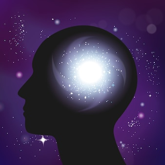 Galaxy psychologie concept realistische compositie