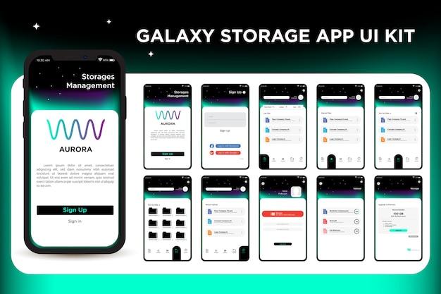 Galaxy storage management app ui kit-sjabloon