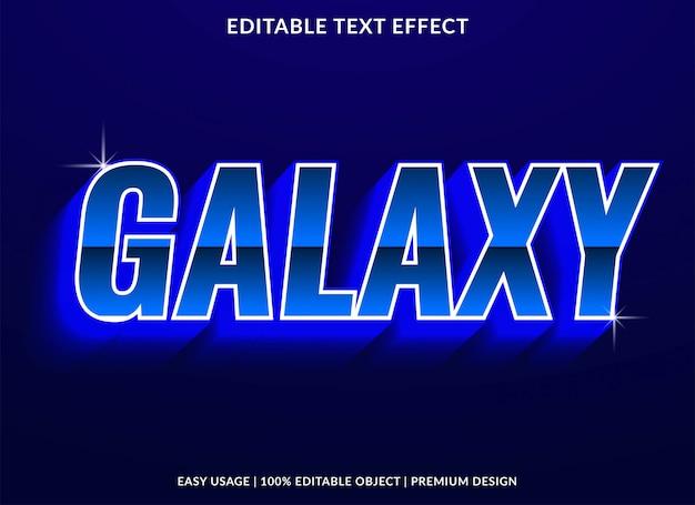 Galaxy teksteffect sjabloon met neonlicht en gloeiende stijl