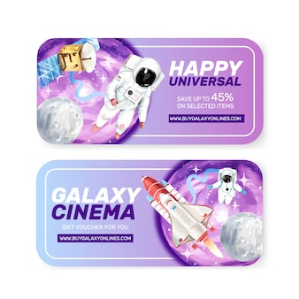 Galaxy ticket sjabloon met astronaut, raket, satelliet aquarel illustratie.