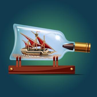 Galeon schip met rode zeilen in een fles. zeilambachten. miniatuurmodellen van zeeschepen. hobby en zee thema. vectorillustratie.