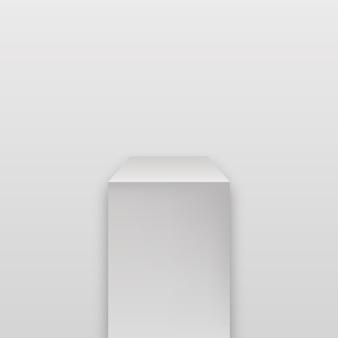 Galerij geometrische blanco productstandaard. museum podium. realistisch kubuspodium.