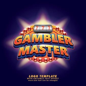 Gambler master game logo sjabloon bewerkbaar tekst effect