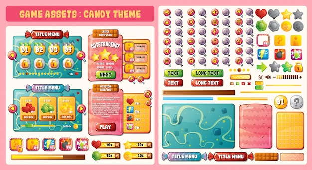 Game assets candy theme