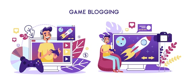 Game blogger videokanaal concept. karakter spelen