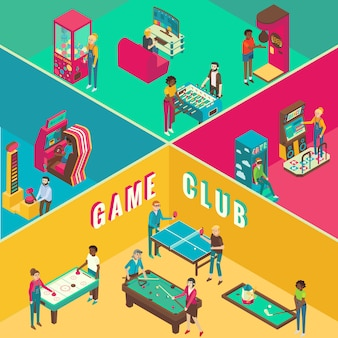 Game club schema interieur flat 3d isometrisch