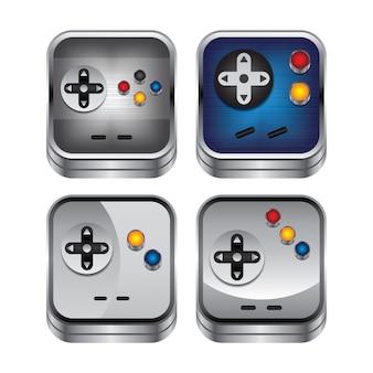 Game console knop metalen thema vector kunst illustratie