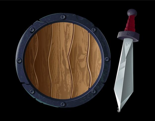 Game-design icoon voor viking of middeleeuws onderwerp. rond groot oud pantserschild met oud metalen scherp zwaard, wapen voor sterke krijger. moderne stijl illustratie realistische tekenen.