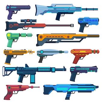 Game futuristische blasters space aliens laser space blasters geweren voor spelende kinderen vector