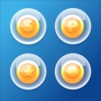 Game icons collections bubble coins