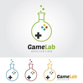 Game lab-logo sjabloon. lab-lamp met spelpictogram.