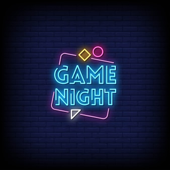 Game night neon signs style tekst