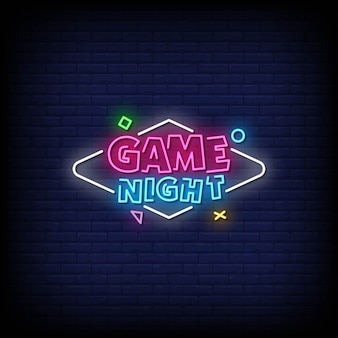Game night neon signs style text